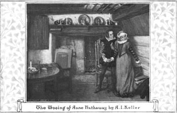 From a postcard reproduction of the painting, The Wooing of Ann Hathaway by Arthur I. Keller, Cragsmoor, NY artist.