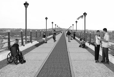 An artist's rendering of the bridge as it might appear in 2009. (Courtesy of Bergmann Associates)