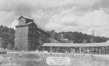 Toboggan run and beach at Williams Lake, 1946.