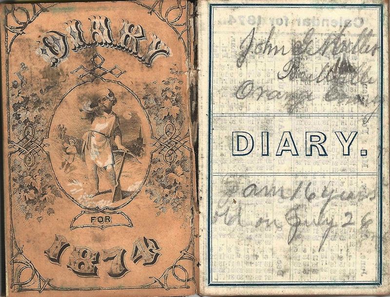The 1874 cover and interior cover page from John G. Miller's diary of that year, and believed to be the first.