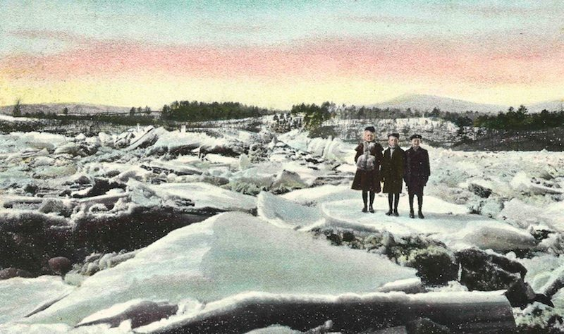 "From postcard titled: ""Ice Jam on The Esopus Creek, Saugerties, NY"""