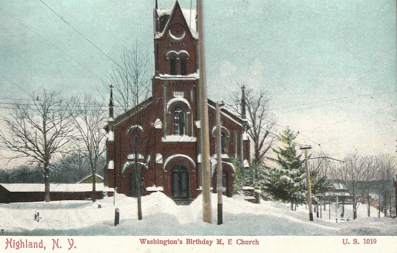 Highland postcard celebrating a snowy Washington's Birthday. (Postmarked 1910)