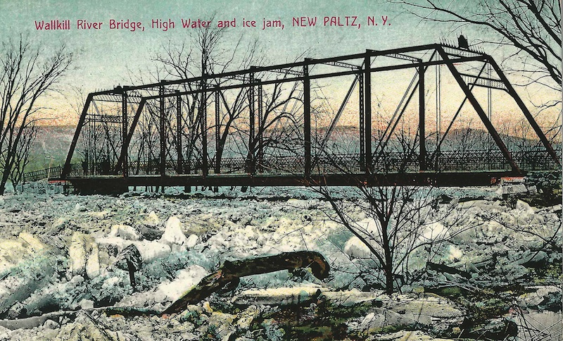 Wallkill River Bridge, High Water and ice jam, New Paltz, N.Y.