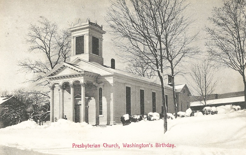 Highland postcard celebrating a snowy Washington's Birthday. (Postmarked 1916)
