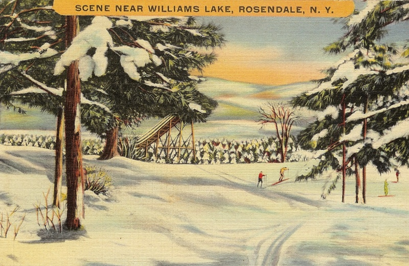 Postcard showing the ski jump, yes, ski jump, near Rosendale Village and Williams Lake.