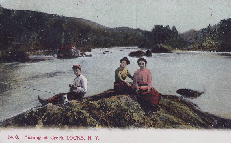 Fishing at Creek Locks, N.Y. Postmark Rosendale, N.Y. 1908