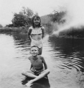Summer delight 1953. Swimming at Zanucci's Pool, which was located at the intersection of S. Eltings Corners Road and Route 299, now site of Lowe's