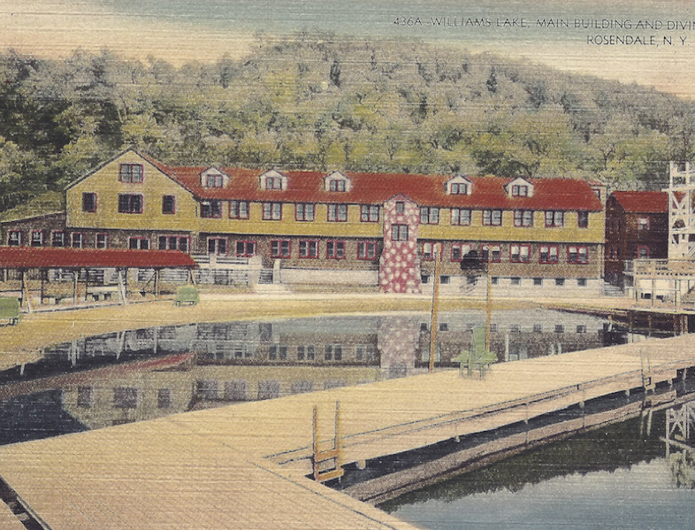 Williams Lake, Main Building and Diving Tower, Rosendale, N.Y. postmarked 1944